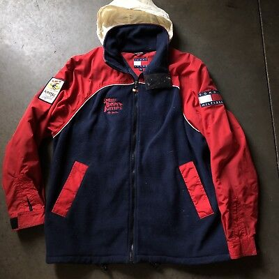 9dac2982899d33 Men s Vintage 90 s Tommy Hilfiger Jeans Fleece Red Blue Windbreaker Jacket  Sz S