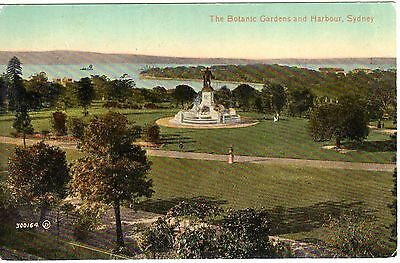Antique Valentine Postcard, The Botanic Gardens and Harbour Sydney