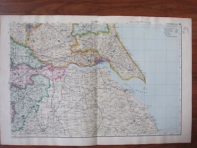 c1898 ANTIQUE MAP YORKSHIRE SOUTH EAST SHEET YORK HULL - SHOWS RAILWAY STATIONS