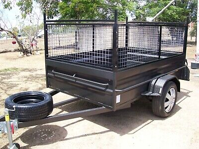 Aussie Made 8x5 H/D Box Cage Ladder Racks 1 Ton Axle 7 Leaf Jockey & Spare Tyre