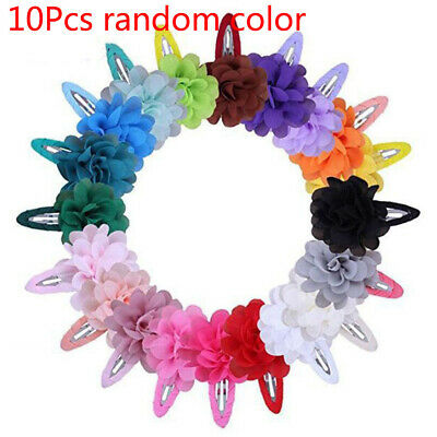 10Pcs Cute Kids Girls Baby Chiffon Toddler Flower Bow Hair Clips Headwear