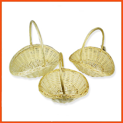 8 x SET OF 3 OVAL WICKER BASKETS | Willow Cane Basket Home Decor Assorted Sizes