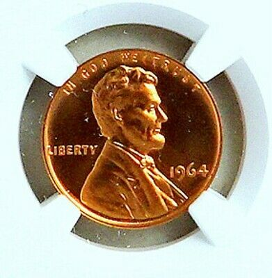 Lincoln Proof Cent; 1964; NGC; PF 67 RD