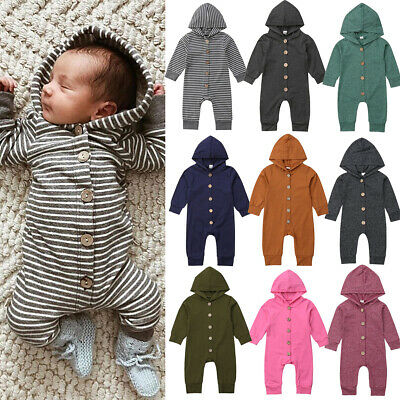 USA Baby Kids Boys Girls Infant Hooded Romper Jumpsuit Bodysuit Clothes Outfits