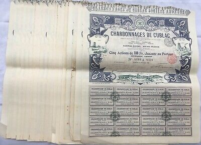 Lot 19 Actions De 100 Francs Charbonnages De Cublac Paris Bruxelle 1900 A1077
