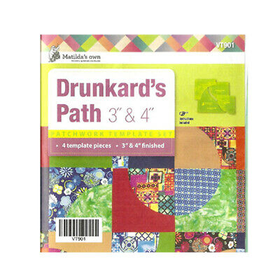"""Quilting Patchwork Sewing Template Drunkard's Path 3"""", 4"""" New Matilda's Own"""
