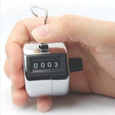 Metal Hand Held 4 Digit Chrome Tally Counter Clicker Palm Golf Counting Tool P