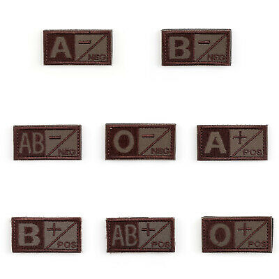 Urban Military Blood Type A B AB O + - Tactical Army Ecusson Brodé Hook Patch