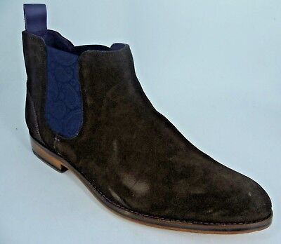TED BAKER MENS Camroon 4 Suede Chelsea Boots Dark Brown UK 9