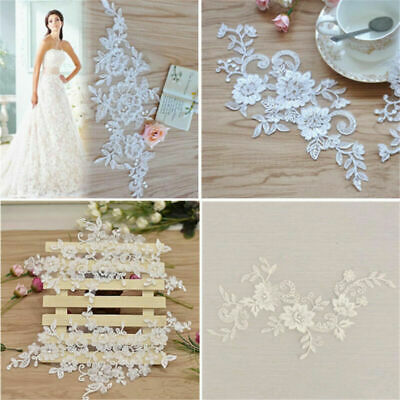 2x Lace Flowers Applique Sewing Bridal Wedding Trims Motif Embroidery DIY Craft