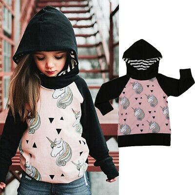Unicorn Kids Girls Hooded Sweatshirt Jumper Pullover Top Toddler Clothes 1-5T