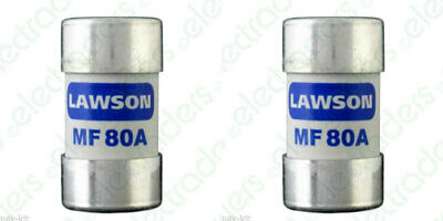 2 x Lawson MF80A Cut Out Fuses - 80 Amp BS88