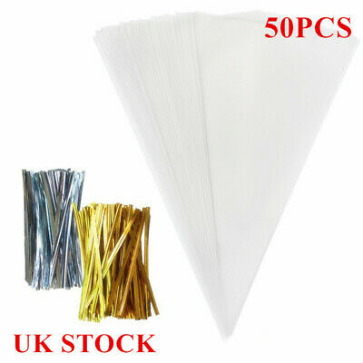 50pcs Candy Gifts Clear Cellophane Cone Bags Twist Ties Sweet Large Party Cello