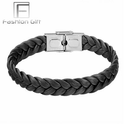 Stainless Steel Cuff Bangle Bracelet 9mm Weave Leather Steel Clasp Fashion Me...
