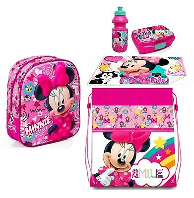Minnie Mouse Shool Disney Zainetto Zaino in 3D set Scuola asilo 6 pezzi