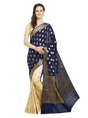 Indian Sari Saree Bollywood Pakistani Navy Blue Woven Banarasi Silk -25554