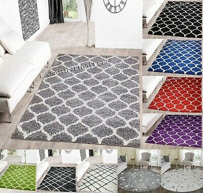 New High Quality Shaggy Rug Non-Shed Trellis Pattern 5cm Pile Height Modern Rugs