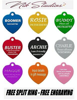 Pet ID Name Heart Tag Tags Laser Engraved Dog Cat Customised and Personalised