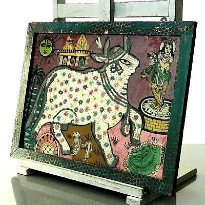 Vintage Indian Bead Painting. Ornately Decorated Sacred Cow & Calf With Krishna.