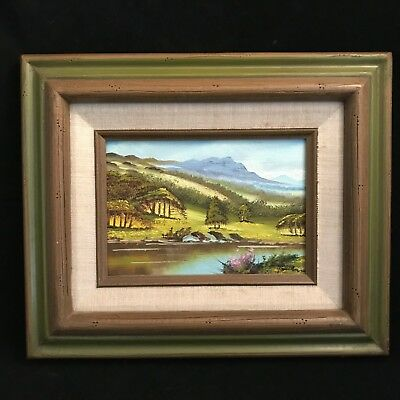 Landscape Oil Painting on Board,Framed Mountain and River Scene signed Baldwin