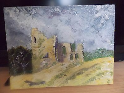 "Original Acrylic > Canvas Narberth Castle- Castell Arberth 16 x12""-Frank Penny"