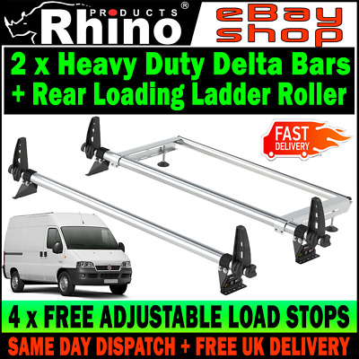 HIGH-H2 Fiat Ducato Roof Bars Rack x2 Rhino With Ladder Roller For 1995-2006 Van