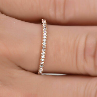 New Women Stackable Eternity Rose Gold Plated Wedding Promise Rings Gift