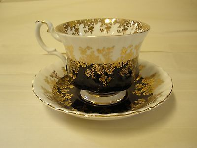 Royal Albert Regal Series Black Gold White Cup Saucer  Bone Footed England
