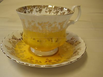Royal Albert Regal Series Yellow Gold White Cup Saucer  Bone Footed England