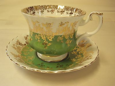 Royal Albert Regal Series Green Gold White Cup Saucer  Bone Footed England