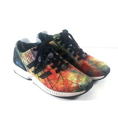 863bc3f02bf82 Adidas Men s 9.5 Running Shoes ZX Flux Athletic Multicolor Rainbow Torsion   120