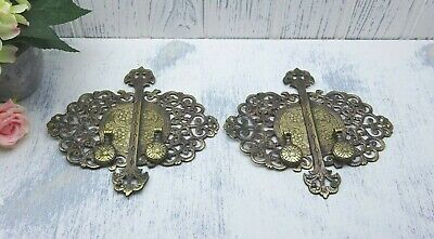 Vintage ornate brass cabinet handles and backplates Crofts & Assinder, two pairs