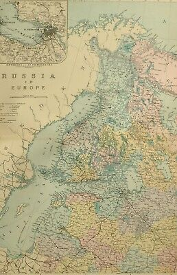1891 Antique Map Russia In Europe North West Environs St Petersburg Finland