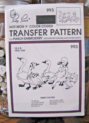 Pretty Punch Iron Transfer Pattern, Punch Embroidery, etc. Geese #993 -NOS