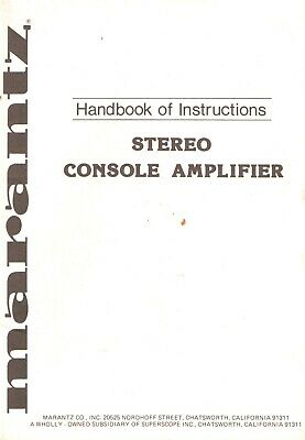 Marantz PM-700 Original Owner's Manual. Money Back Guaranty
