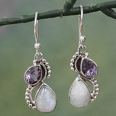 925 Silver Jewelry Amethyst Earrings Women's Handmade Moonstone Eardrop Gifts