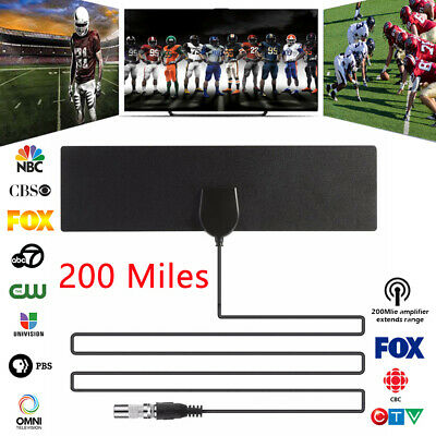 Digital TV Antenna Indoor Aerial HD Freeview Signal Amplified Thin HDTV 200 Mile