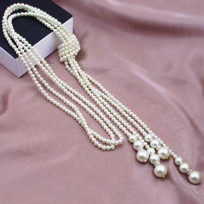 Women Freshwater Pearl White Drop Pearl Necklace Beaded Long Chain Rope Bead