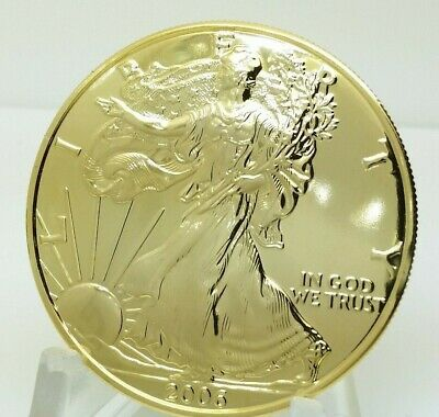 2006 American Eagle 1 One Troy Oz Gold Plate Fine .999 Pure Silver Round BU Coin