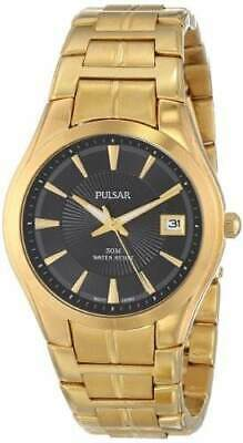 Pulsar PXH914 Men's Black Dial Stainless Steel Gold-Tone Date Dress Watch