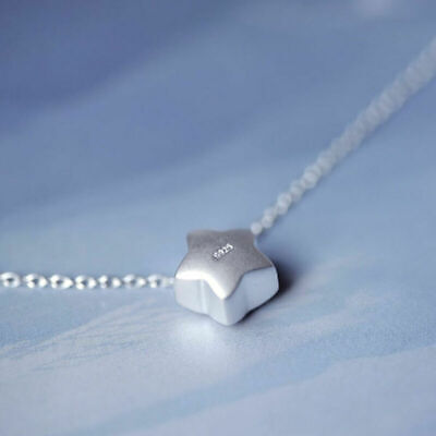 925 Silver Lovely Little Star Pendant Charm Chain Women Jewelry Necklace Gift
