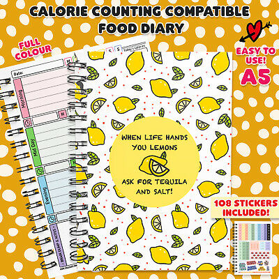 Food Diary, 13 Week Calorie Counting, Journal, Planner Diet Book Tracker Fruit61