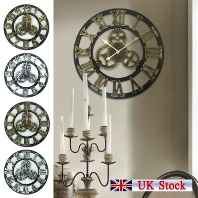 Large Metal Skeleton Wall Clock Antique gold Home Decor Round 40cm Indoor/Out UK
