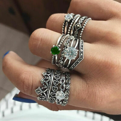 12pcs/Set Ring Women Boho Retro Vintage Festival Fashion Jewelry Gift