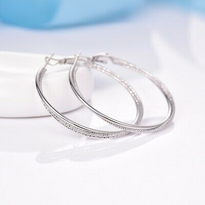 Retro Big Circle Sleeper Fit Charms Dangle Hoop 18K White Gold Filled Earrings