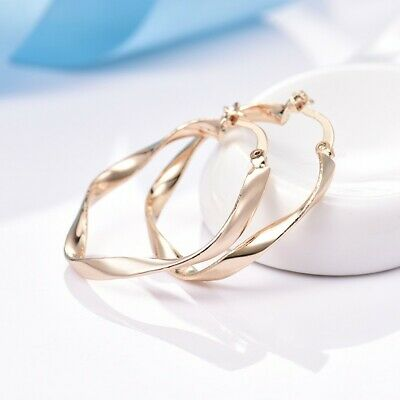 Lady Graceful 18K Yellow Gold Filled Big Round Retro Hoop Snap Closure Earrings