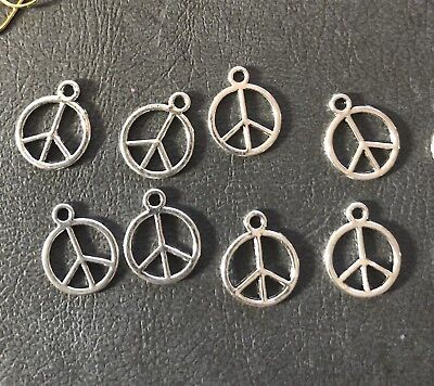 Peace Charm Findings 10 mm Shiny Silver Pack of 10 Aussie Seller DIY Jewellery
