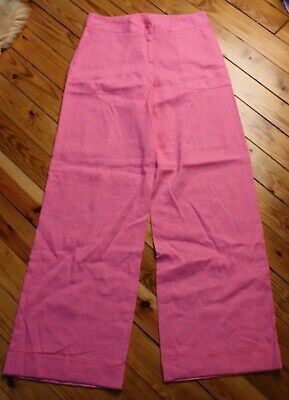Lilly Pulitzer 4 Pink High Waist Wide Leg Linen Blend Pants Trousers Cuff Beach