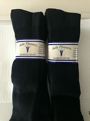 6 Pairs BIG MENS SOLE PLEASERS OVER THE CALF Cushioned Diabetic Socks 13-15