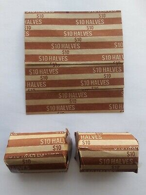 50 - Half Dollar Flat Coin Wrappers - Paper Tubes 50 Fifty Cent Pieces Halves